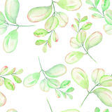 Seamless floral pattern with the abstract watercolor green branches. Hand drawn on a white background Royalty Free Stock Photos