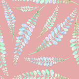 Seamless floral pattern with the abstract watercolor green and pink branches. Hand drawn on a pink background Royalty Free Stock Photo