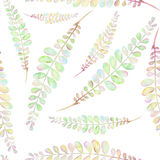 Seamless floral pattern with the abstract watercolor green and pink branches. Hand drawn on a white background Stock Images