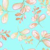 Seamless floral pattern with the abstract watercolor pink branches. Hand drawn on a mint background Stock Images