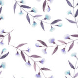 Seamless floral pattern with the abstract watercolor purple and blue branches with flowers Stock Photos