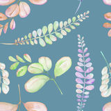 Seamless floral pattern with the abstract watercolor purple, pink and green branches. Hand drawn on a blue background Stock Photo