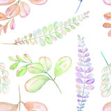 Seamless floral pattern with the abstract watercolor purple, pink and green branches. Hand drawn on a white background Royalty Free Stock Photos