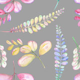 Seamless floral pattern with the abstract watercolor purple, pink and yellow branches Stock Photos