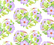 Seamless floral pattern with adenium, watercolor imitation. Vector illustration. Pink flowers and light green leaves Stock Images
