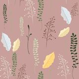 Seamless floral pattern. Autumn herbs illustration. Seamless autumn leaves pattern,trendy print in collage cut out, carve style.Hand drawn doodle texture Royalty Free Stock Photo