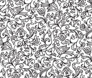 Seamless Floral Pattern Background With Birds and Flowers. On white illustration royalty free illustration