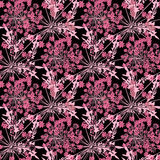 Seamless floral pattern background, bright flowers on a black background. Seamless floral pattern background, flowers ornament wallpaper textile Illustration stock illustration
