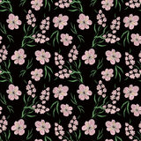 Seamless floral pattern background, bright flowers on a black background. Seamless floral pattern background, flowers ornament wallpaper textile Illustration vector illustration