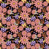 Seamless floral pattern background .flowers on black background. Stock Photos