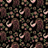 Seamless floral pattern background .flowers on black background. Stock Image