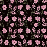 Seamless floral pattern background .flowers on black background. Royalty Free Stock Image