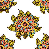 Seamless floral pattern background with large. Flowers in Indian or Oriental style. Hand drawn vecor illustration Royalty Free Stock Photo