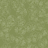 Seamless floral pattern background outline light beige on green. EPS 10 Royalty Free Stock Photography