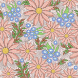 Seamless floral pattern background, pink flowers on a beige background. Seamless floral pattern background, flowers ornament wallpaper textile Illustration royalty free illustration