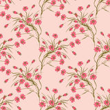 Seamless floral pattern background,red flowers on a beige background. Seamless floral pattern background, flowers ornament wallpaper textile Illustration. red vector illustration