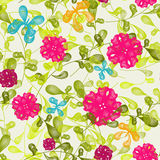 Seamless floral pattern background. Vector retro elegance seamless pattern Butterfly and Flower Stock Image