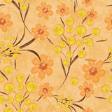 Seamless floral pattern background, yellow flowers on a beige background. Seamless floral pattern background, flowers ornament wallpaper textile Illustration stock illustration