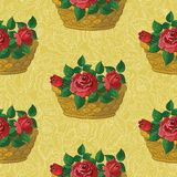 Seamless floral pattern, basket with roses Royalty Free Stock Images