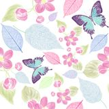 Seamless floral pattern with bbutterfly royalty free illustration