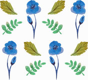 Seamless floral pattern with beautiful flowers and leaves in blue and green colours.Watercolor. royalty free stock image