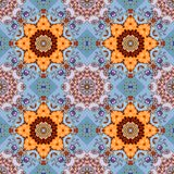 Seamless floral pattern. Beautiful print for fabric with lilac tulips and mandalas Royalty Free Stock Photo