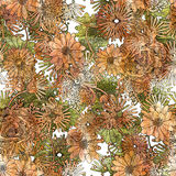 Seamless floral pattern,beautiful wallpaper with orange and green flowers Royalty Free Stock Photos