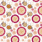 Seamless floral pattern, bee Royalty Free Stock Image