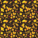 Seamless floral pattern with bees, honey, flowers, hive and other object. stock illustration