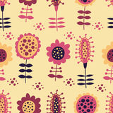 Seamless floral pattern on a beige background Stock Photography