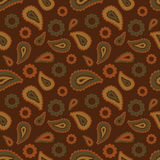 Seamless floral pattern with beige and brown plants, flowers and leaves on brown background. Ethnic oriental print with cucumbers. Stock Photo