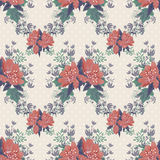 Seamless floral pattern on beige dotted Stock Photo