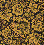 Seamless floral pattern. Beige flowers on a gold background. Seamless floral pattern. gold flowers on a black background. Hohloma Stock Images