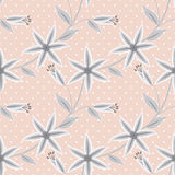 Seamless floral pattern on a beige striped background Royalty Free Stock Image