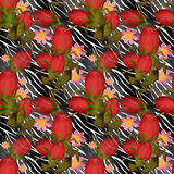 Seamless floral pattern with berry of dog-rose background Stock Photo