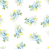 Seamless floral pattern with big and little blue rose Stock Image