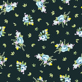Seamless floral pattern with big and little blue rose Royalty Free Stock Photography