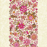 Seamless floral pattern with a bird and flowers. Stock Photo