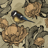 Seamless floral pattern with bird titmouse. Vector illustration. Royalty Free Stock Image