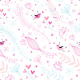 Seamless floral pattern of birds Royalty Free Stock Image