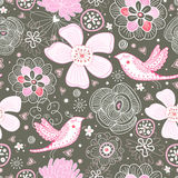 Seamless floral pattern with birds Royalty Free Stock Photography