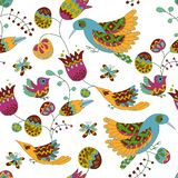 Seamless floral pattern with birds.Bright summer pattern.  Royalty Free Stock Images