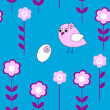 Seamless floral pattern with birds and eggs Stock Photo