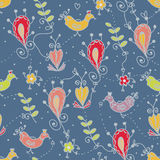 Seamless floral pattern with birds, ethnic motives Stock Photos