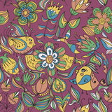 Seamless floral pattern with birds. Seamless floral pattern with flower and bird. Endless floral pattern. Can be used for wallpaper, pattern, backdrop, surface Royalty Free Stock Images
