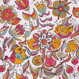Seamless floral pattern with birds. Seamless floral pattern with flower and bird. Endless floral pattern. Can be used for wallpaper, pattern, backdrop, surface Stock Photography