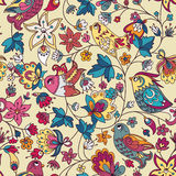 Seamless floral pattern with birds. Seamless floral pattern with flower and bird. Endless floral pattern. Can be used for wallpaper, pattern, backdrop, surface Royalty Free Stock Photography