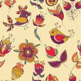 Seamless floral pattern with birds. Seamless floral pattern with flower and bird. Endless floral pattern. Can be used for wallpaper, pattern, backdrop, surface Royalty Free Stock Photo