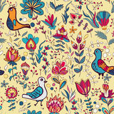Seamless floral pattern with birds and flowers. Seamless flower and bird. Endless floral pattern. Full color floral background royalty free illustration