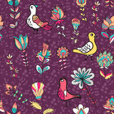 Seamless floral pattern with birds and flowers. Seamless flower and bird. Endless floral pattern. Full color floral background Stock Image